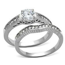 0.8 Carat Round CZ Stainless Steel Women Wedding/Engagement 2 RINGS SET SZ 5-10