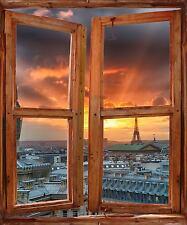 Stickers fenêtre trompe l'oeil déco Toit de Paris réf 5250