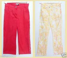 BNWT Girls DKNY Caprice 3/4 Length Red Logo Yellow Orange Trousers Age 14