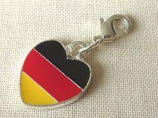 Anhänger Deutschland Flagge Herz Charm Metall schwarz rot gold Fußball 2590