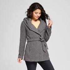 XHILARATION - JUNIORS Women's Tweed Faux Wool Wrap Coat Jacket BLACK GRAY S-XL