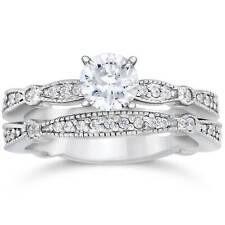 1ct Pave Milgrained Diamond Engagement Wedding Ring Set 14K White Gold