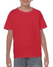 ROJO LISO para niños y niñas infantil Camiseta De Algodón Edad 3-14