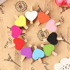 10/20/50/100pcs Mini Hearts Wooden Pegs Photo Clips Xmas Wedding Party Decor JS