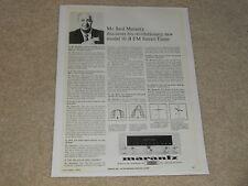 Rare Marantz 10-B Tube Tuner Ad, Saul Q & A, 1964, Beautiful, Frame it!