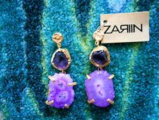 Zariin Duo Stone Spirited Amethyst & Purple Druzy Gold Pierced Earrings