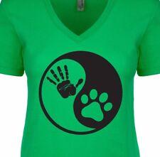 YING YANG Human Dog Bond Best Friend Loyal Love Treat Fun Women's V-Neck T-Shirt
