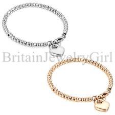 Fashion Stainless Steel Heart Dangle Beaded Chain Women's Ladies Bracelet Bangle