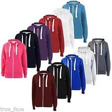 New Women True Face Plain Fleece Zip Up Hoody Jacket Sweatshirt Hooded Zipper