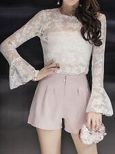élégant Traje conjunto de mujer pantalones cortos suéter mangas rosa 3754