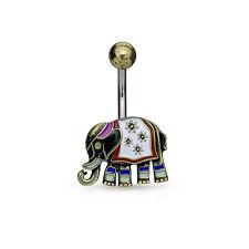 NELLY Elephant Enamel Belly Button Ring Navel Piercing Body Jewellery UK A4
