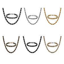 "Men's Biker Stainless Steel Square Byzantine Chain 22""-30"" Necklace Bracelet Set"