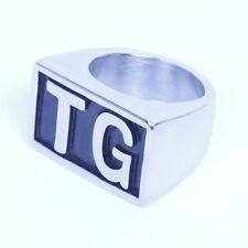 USA Seller Men's Stainless Steel TG Initial Letter Biker Ring Size 8-14 SR126