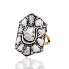 1.32ct Rose Cut Diamond 14k Gold 925 Sterling Silver Women Ring Designer Jewelry