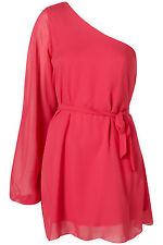 Topshop asymmetric chiffon dress by Rare UK 12 in Pink ( New )