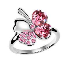 Anello Donna Cristallo Swarovski elements quadrifoglio rosa N86