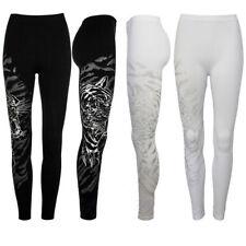 New Ladies Womens Patterned Leggings Tiger print Black leggings S/M M/L