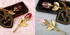 Choice Crystal Gold Stem Rose Bridal Shower Wedding Favors - Pink or Red