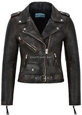 Ladies Leather Jacket Black Rub Off Biker Motorcycle Style 100% REAL NAPA MBF