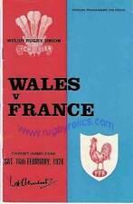Gales / Francia 1974 Rugby programa 16 de febrero en Cardiff