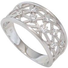 Zirconia 333 Gold White Gold Ladies Ladies Ring Net Pattern with 9 White