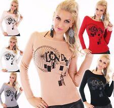 Damen Pullover kurz Sweater fein Strick Pulli LONDON PRINT Glitter 3436/38