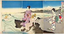 Japanese Art Print Women Bathing by Kokunimasa Bathroom Bath Decor Wall Poster