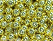 gold round metallic arylic beads 6mm/100pcs, 8mm/50pcs