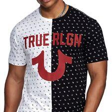 True Religion Men's Split Monogram Tee T-Shirt in Black/White