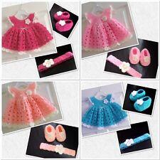 Bebé Niña Rosa Cálido Crochet Vestido diadema patucos 0-6 meses Conjunto de regalo de Navidad