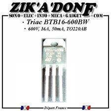 Triac BTB16-600BW 600V, 16A, 50mA, TO-220 Prix dégressive par Qté)