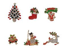 Christmas Brooch Badge Pins Red Crystal Diamante Enamel Festive Accessory Gift