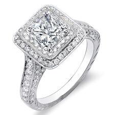 3.31 Ct. Princess Cut w/ Dual Halo Round Diamond Engagement Ring G,VS1 EGL 18K