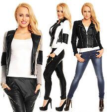 Womens Black Leather Look Zip Sexy Biker Jacket size 8 10 12 14