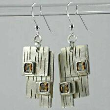 Indian Bollywood Jewelry 925 Silver Morganite Ear Hook Wedding Earrings Dan K6C7