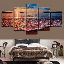 Sunset Seascapes Ocean Waves Splash Beach Shore 5 Panel Canvas Print Wall Art