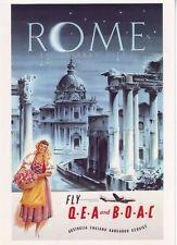 Qantas BOAC cartel vendimia viajes vuelos a Roma A3/A2 impresión