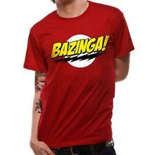 Oficial para hombre Big Bang Theory Bazinga Logo Rojo Clásico Camiseta-ajuste flojo
