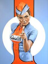 Gulf Racing pin up Art reprint metal retro sign vintage sign tin