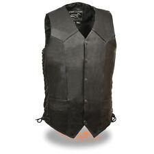 "Men's Promotional Grade ""TALL"" Black Snap Front Side Lace Leather Vest - EL5315T"