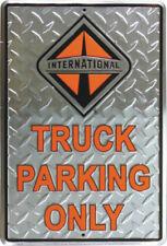 International truck parking only sign diamondplated diesel 18 wheeler logo tag