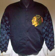 CHICAGO BLACKHAWKS STARTER Varsity Jacket BLACKHAWKS Logos on Sleeves L XL BLACK