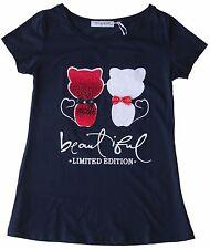 t-shirt maglietta donna ragazza cotone applicazione paillets gatti tg. S/M-L/XL