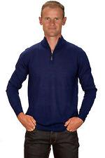 Ugholin Herren Kaschmir Blau Pullover mit Reißverschluss am Kragen