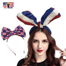Women American Flag Headband Hair Band Bow Rabbit Ribbon Large Ears 4th of July