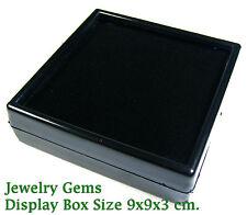 FREE SHIP BLACK TOP GLASS GEMSTONE JEWELRY COIN DISPLAY SHOW CASE JAR BOX 9x9 cm