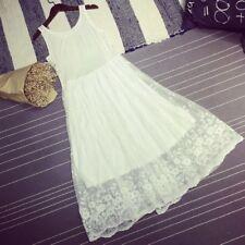 Women Mesh Sleeveless Strappy Dress Floral Lace Petticoat Full Slip Hippie Plain