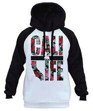 Men's Cali Life Roses White Raglan Hoodie California Republic Bear CA Pink B422