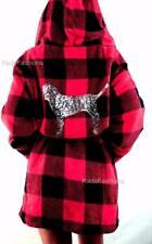Victoria's Secret PINK Plush Cozy Fleece Sequin Gingham Robe Plaid Hood XS S M L