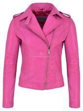 Ladies Brando Leather Jacket Fuchsia Pink Fashion Biker Rock Style Lambskin 442
